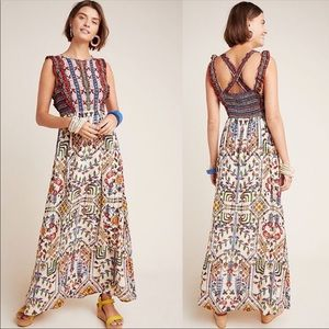 Anthropologie Valerie Embroidered Maxi Dress Sz 0